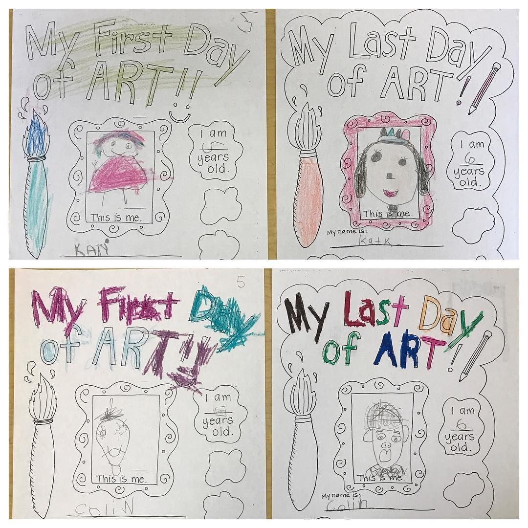 Portraits first and last day of art   Teaching   Pinterest   Kind