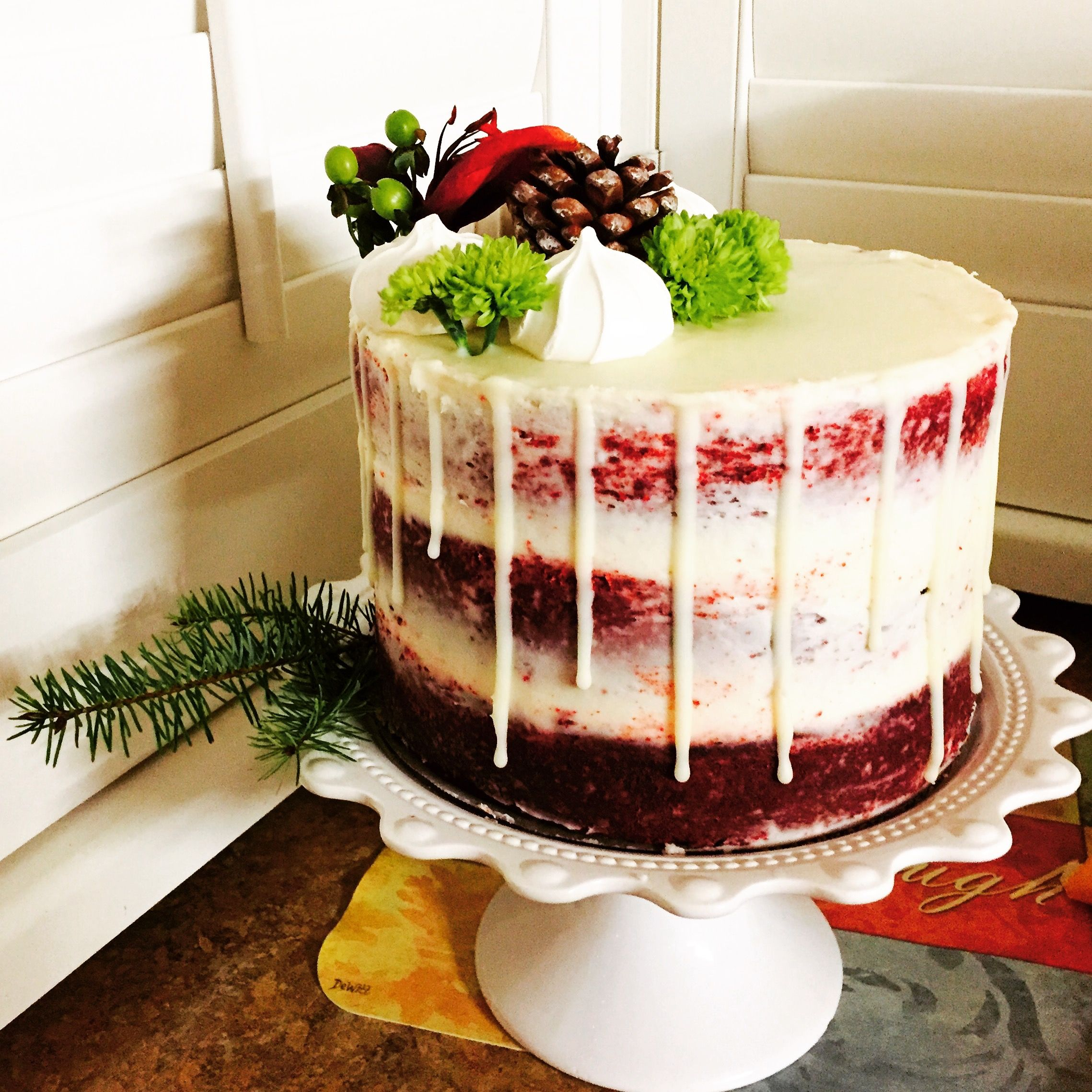 Christmas Drip Cake Naked Red Velvet With White Chocolate