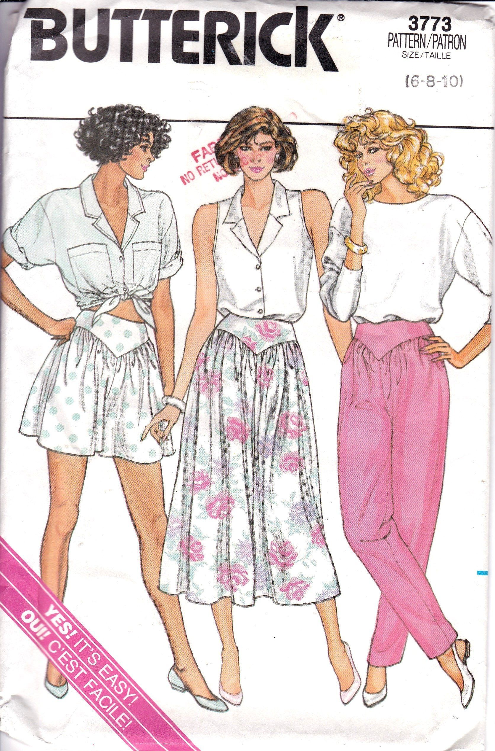 b4c7bfed7a Vintage 1986, Mid Thigh Culottes , Midi Skirt and Tapered Pants, Contour  Waist, Fabric Gathered into Bottom of V Shaped Yoke, Butterick 3773 by ...