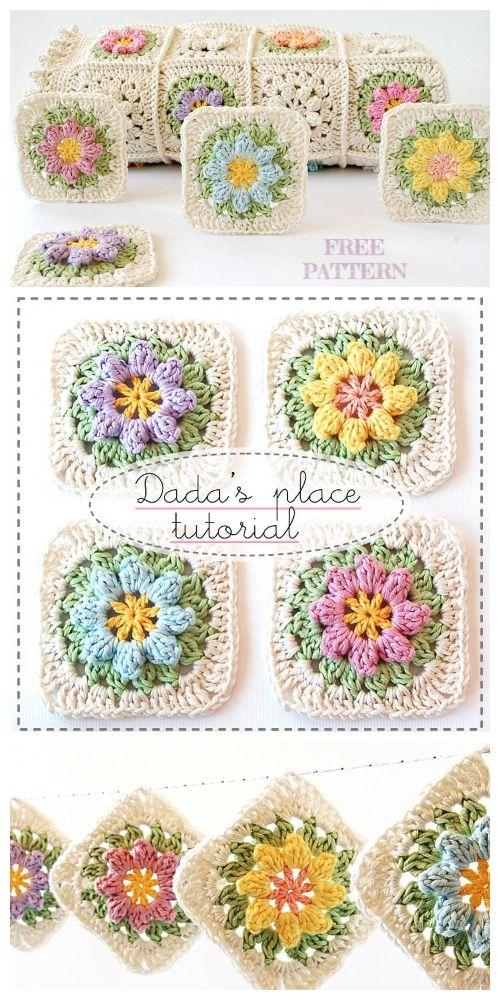 Primavera Flowers Granny Square Blanket Free Crochet Pattern - DIY Magazine