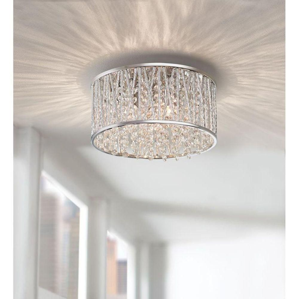 home decorators collection 3 light polished chrome and crystal flushmount 1001397596 the home - Home Decorators Collection Lighting
