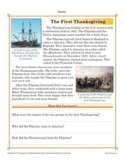 Thanksgiving Worksheets | Comprehension questions, Comprehension ...