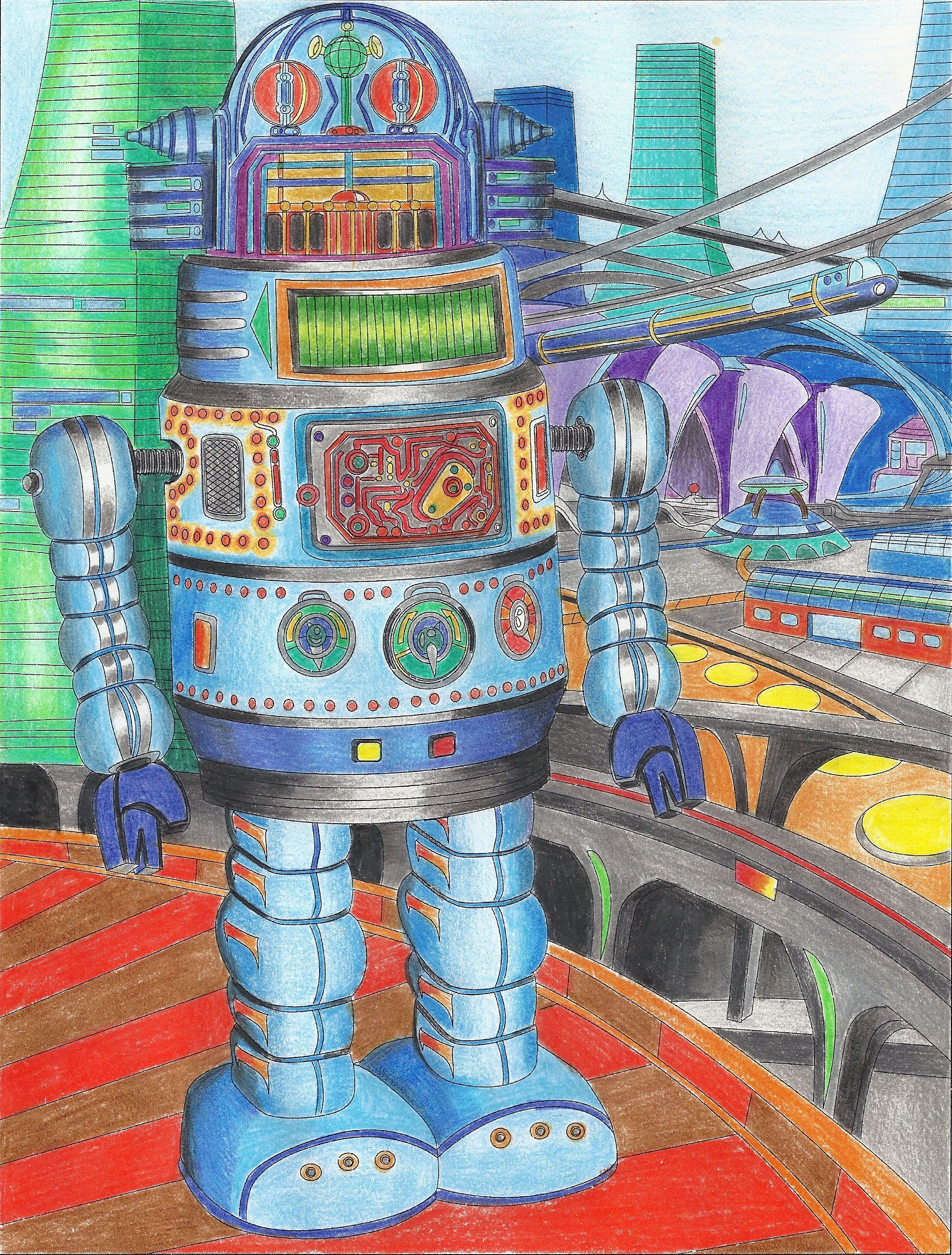 Colored Page From Retro Robots Robot Space Coloring Book
