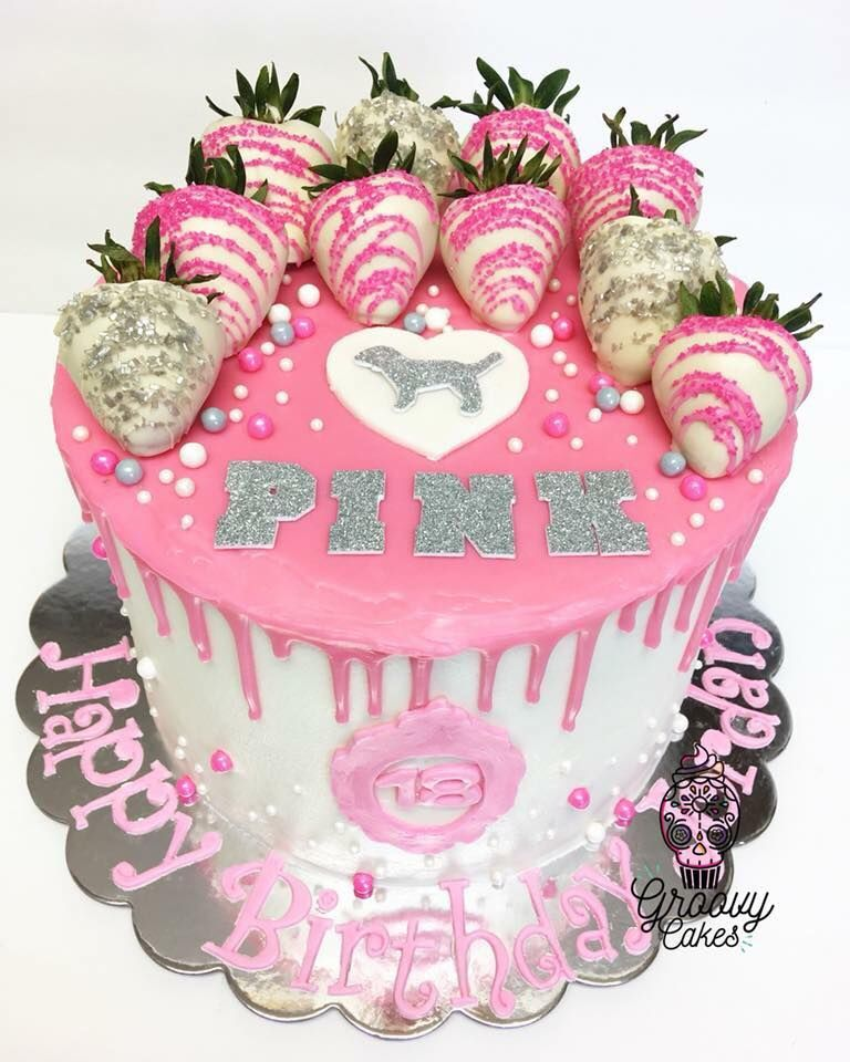 Pink victorias secret cake with images pink birthday
