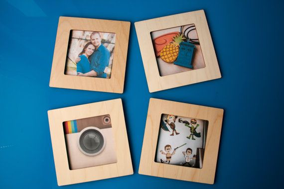 Square Magnetic Wood 4x4 Photo Frame - Display Instagram Photos on ...