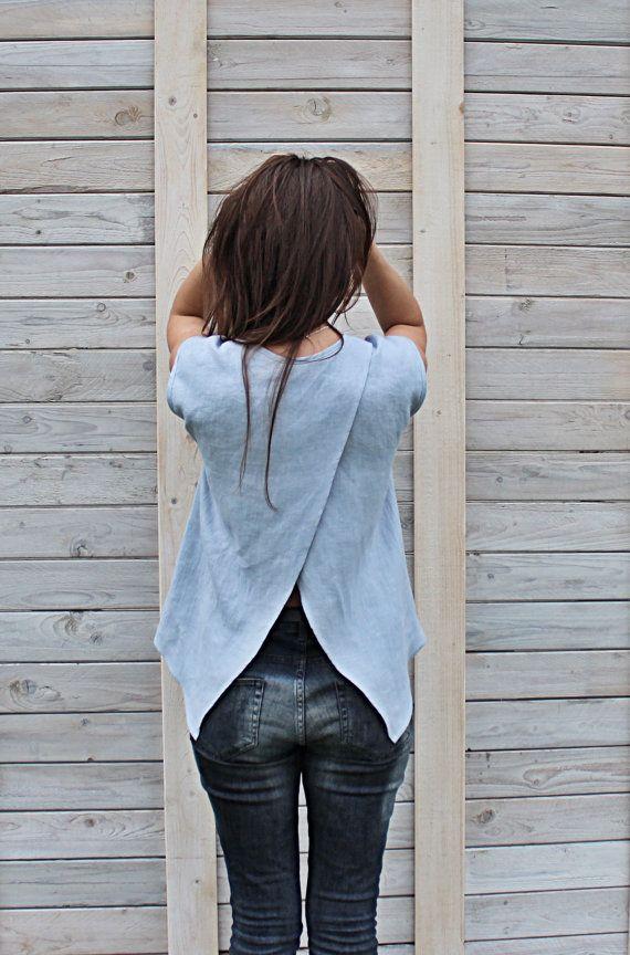 Linen summer blouse / flax top for woman. Modern summer flax cloth handmade by LinenSky.