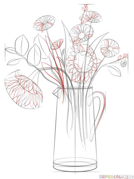 come disegnare un mazzo di fiori passo dopo passo