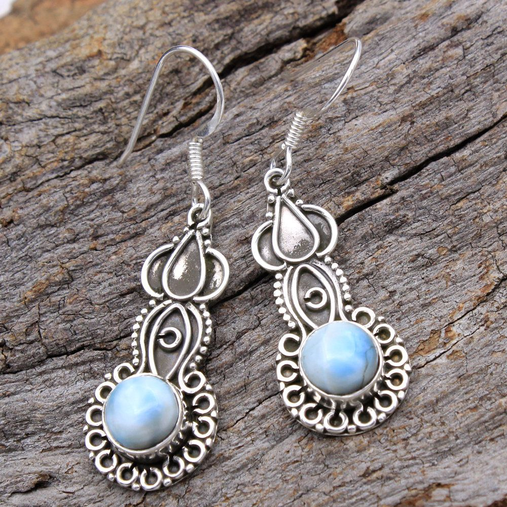 Natural Moonstone Round Dangle Earrings 925 Sterling Silver Designer Jewelry