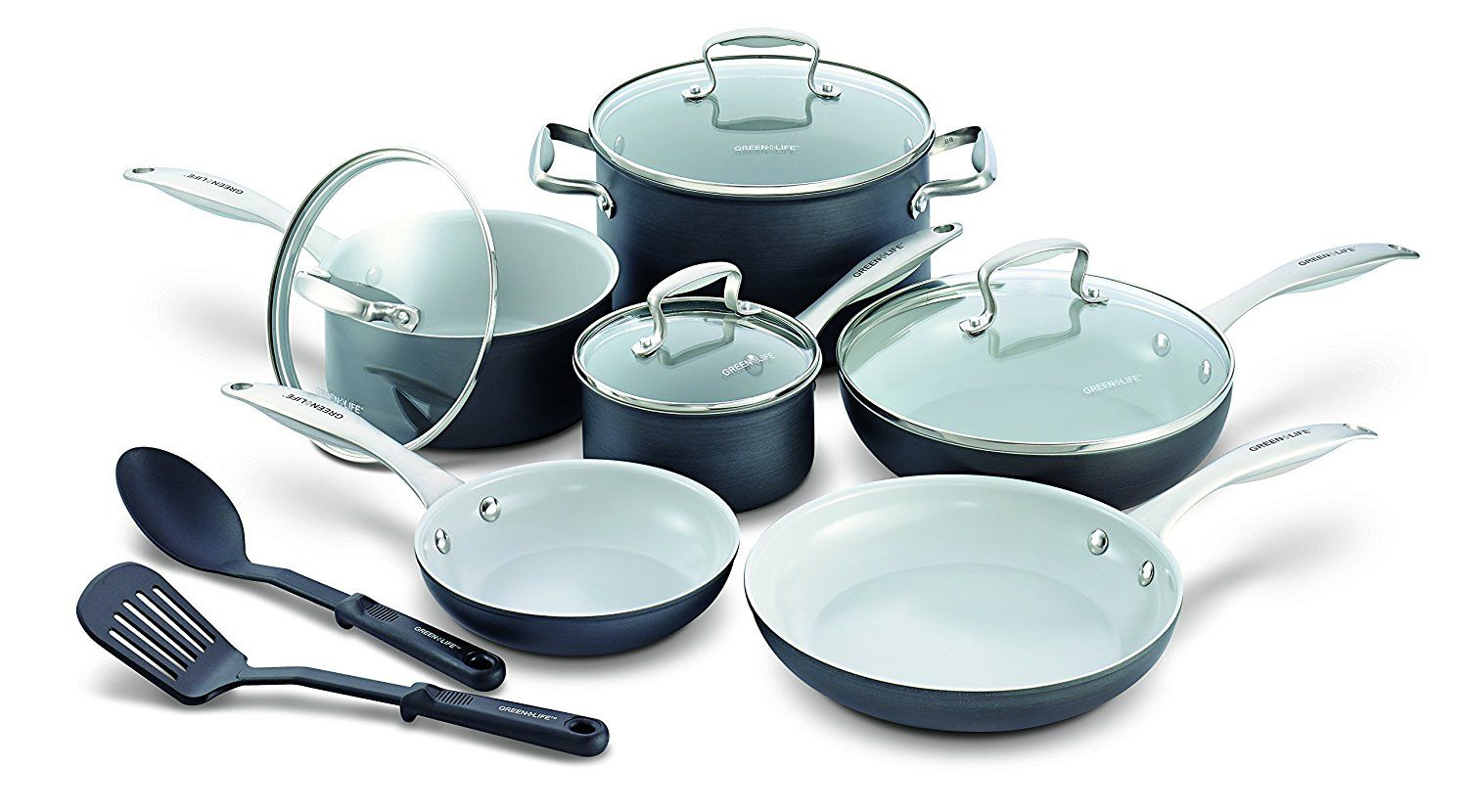 Cookware gt see more select by calphalon ceramic nonstick 8 inch an - Greenlife 12 Piece Hard Anodized Non Stick Ceramic Classic Cookware Set Learn More