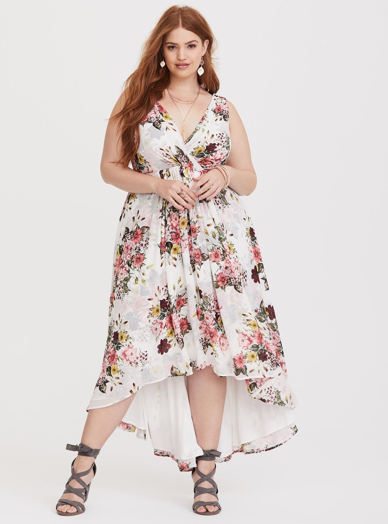 1b5be35f90f Special Occasion White Floral Chiffon Dress - A hi-lo hem adds movement to  an airy chiffon midi dress that drapes beautifully from the pleated bodice  and ...