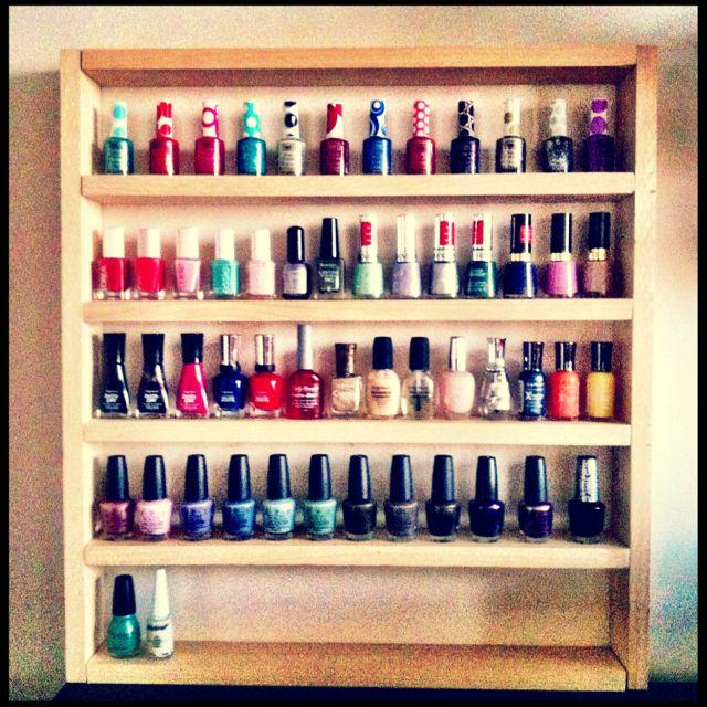My sister\'s nail polish holder. Make a nail polish rack yourself ...