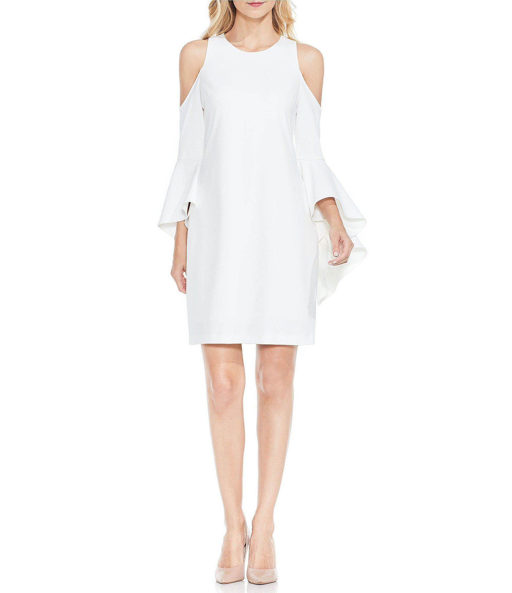 Vince Camuto Ruffled Bell Sleeve Cold Shoulder Dress #Dillards ...
