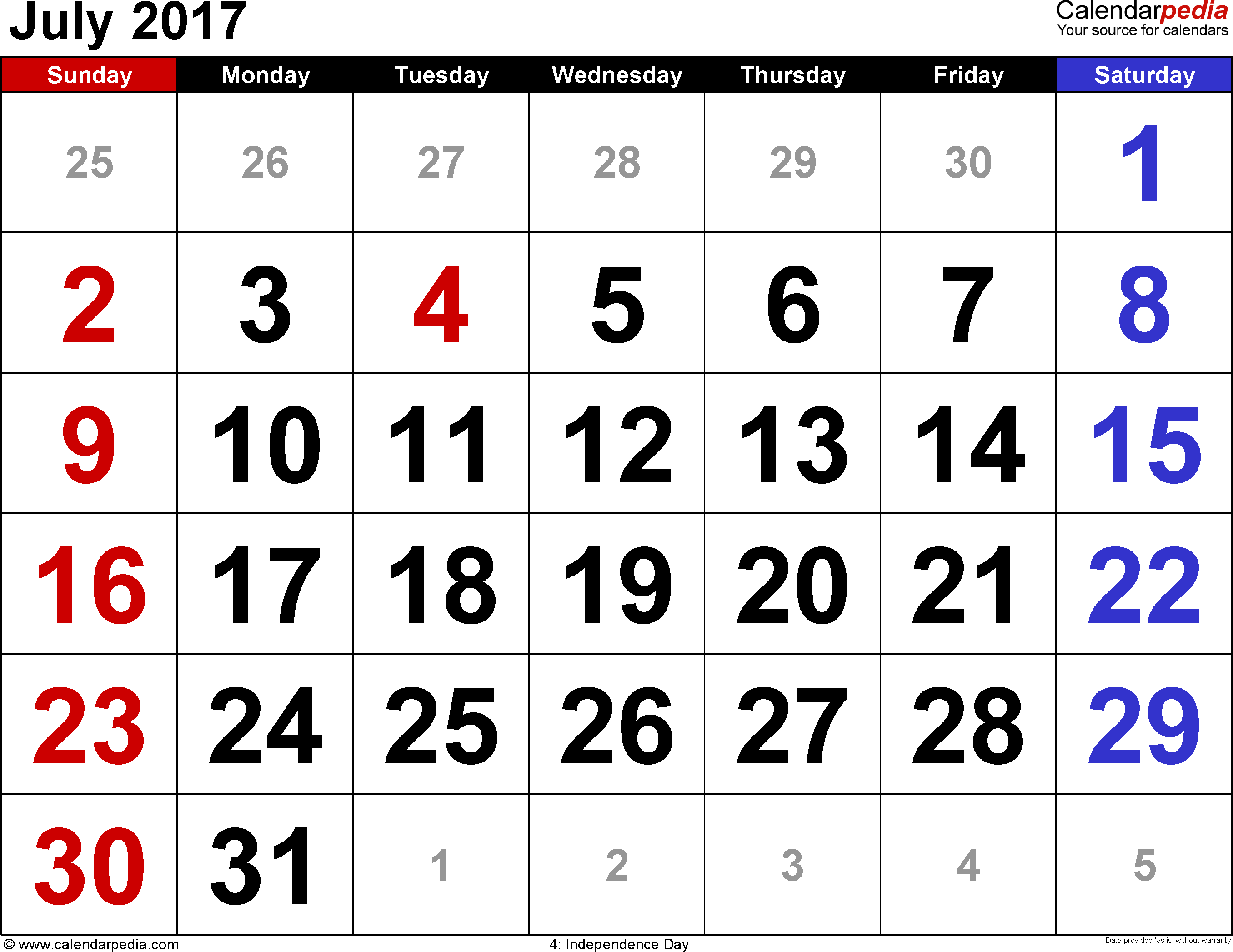 July 2017 Calendar Page | July 2017 Calendar | October