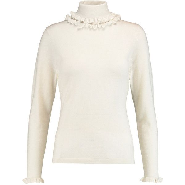 N.Peal Cashmere - Ruffle-trimmed Cashmere And Silk-blend Turtleneck... (€160) via Polyvore featuring tops, sweaters, ivory, white turtleneck sweater, turtle neck top, pure cashmere sweaters, cashmere sweater and cashmere turtleneck