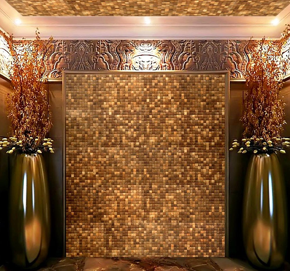 Kirei coconut shell mosaic tile boutique feature wall www - Interior wall sheeting materials ...