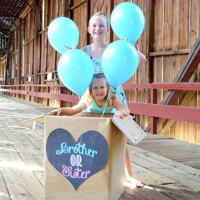 Gender reveal balloon box surprise party sign heart brother or sister sibling