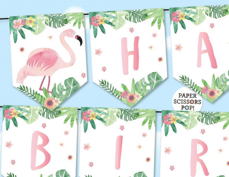 Pink Flamingo Birthday Banner Tropical Banner Watercolor Flamingo Bunting Tropical Party Decor Printable Garland 5th 12th 10th Birthday In 2021 Pink Flamingo Birthday Flamingo Birthday Tropical Party Decorations