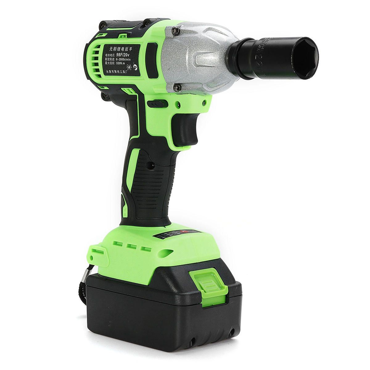 98f 20000mah Brushless Cordless Impact Wrench Electric Driver Drill 320n M W Led Light Power Tools From Tools Industrial Scientific On Banggood Com Led Lights Drill