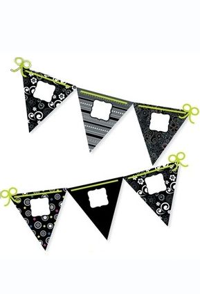 """Add a banner to a classroom or party with ease by using the BW Pennants 10"""" Jumbo Designer Cut-Outs"""