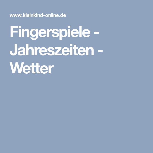 Fingerspiele Jahreszeiten