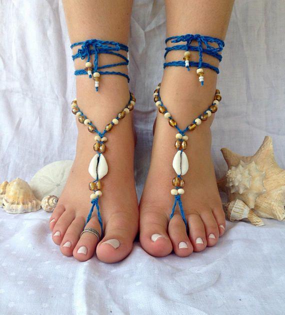 53b885177 Beach shell barefoot sandals hippie wedding soleless sandals boho footless  sandals bridal beaded foo