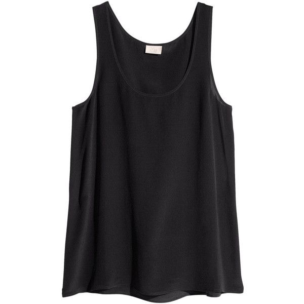 H&M Silk top (370 UYU) ❤ liked on Polyvore featuring tops, shirts, tank tops, tanks, black, sleeveless tank tops, h&m tank tops, silk tank, silk sleeveless top and sleeve less shirts