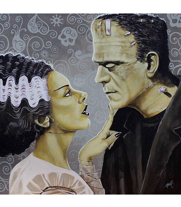 Flirtationship by Mike Bell Canvas Giclee Tattoo Art Print Bride of Frankenstein