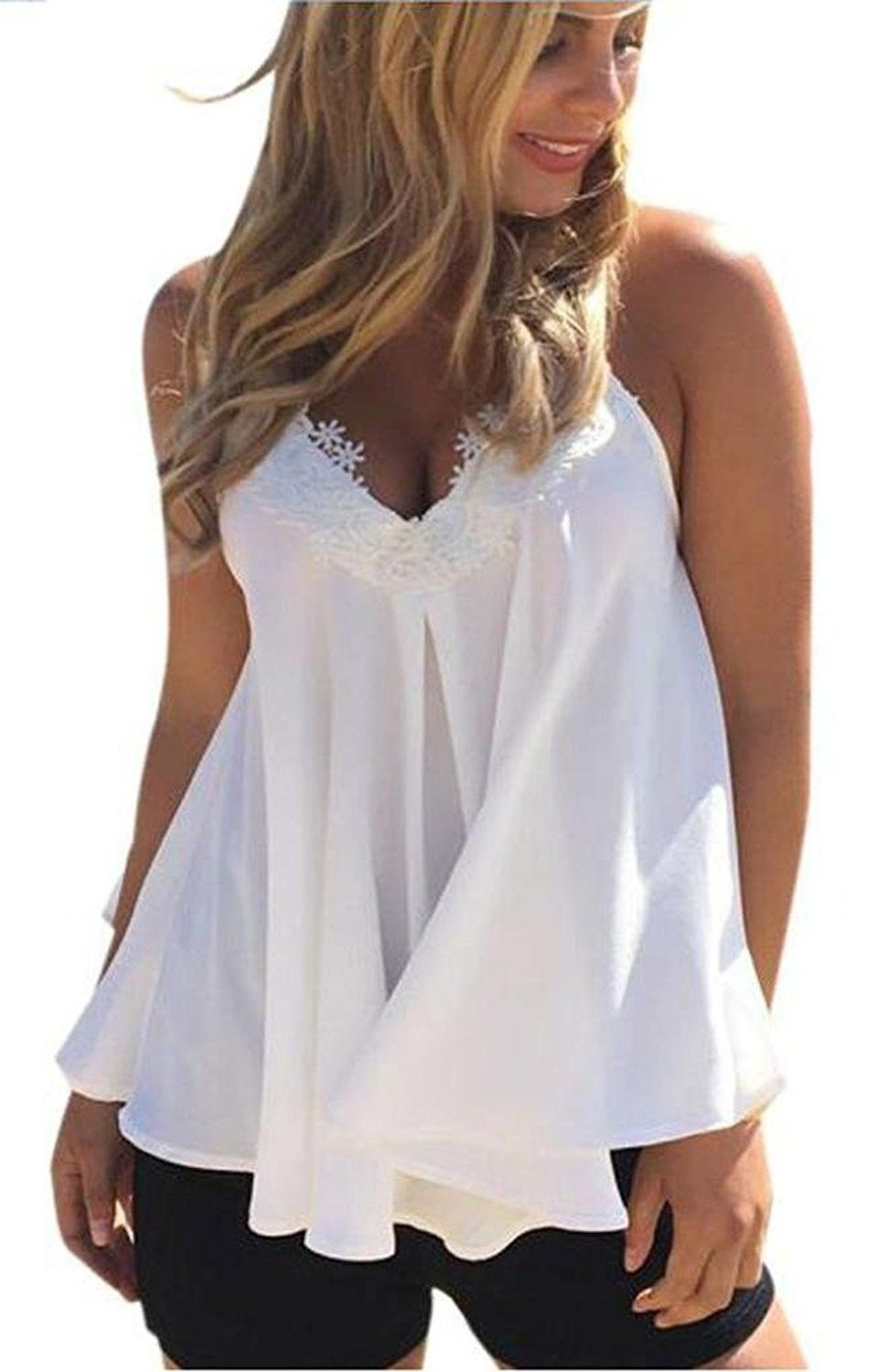 3d1ba4b1f4 Womens Loose Lace Crochet Sleeveless Chiffon Blouse Flowy Tank Top Shirt -  White - CO18340LEK9,Women's Clothing, Tops & Tees, Tanks & Camis #women # fashion ...