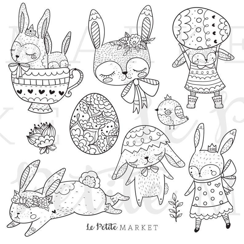 Cute Bunny Rabbit Clip Art Bunny Clip Art Spring Animals Clip Art Rabbit Digital Stamps Spring Clipart Cute Rabbit Illustration Set Clip Art Digital Stamps Rabbit Illustration