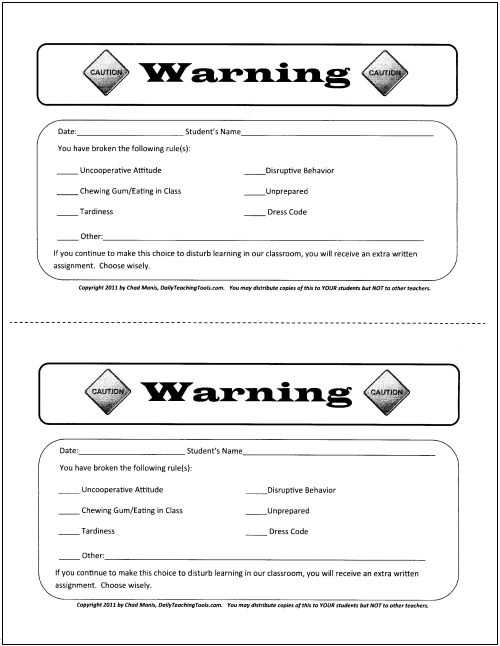 Student Written Warning Template  These Classroom Behavior