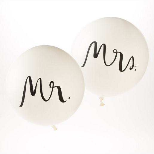 312b6cfcb80 Great for any wedding, reception, or bridal shower, these large Mr. & Mrs.  Balloons are from Kate Spade New York.