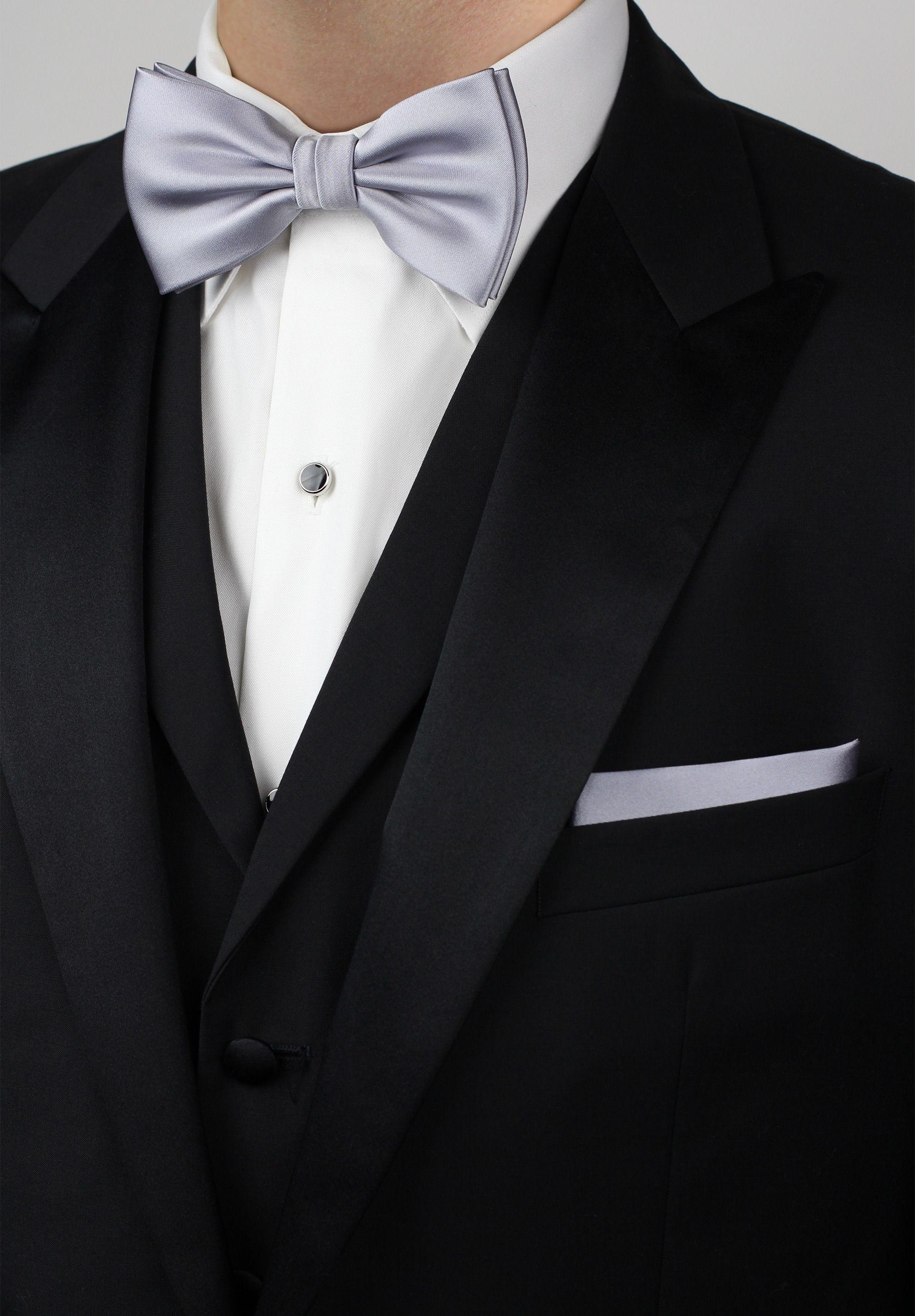 24688eb2 Elegant mens tuxedo attire - formal silver bow tie and pocket square ...