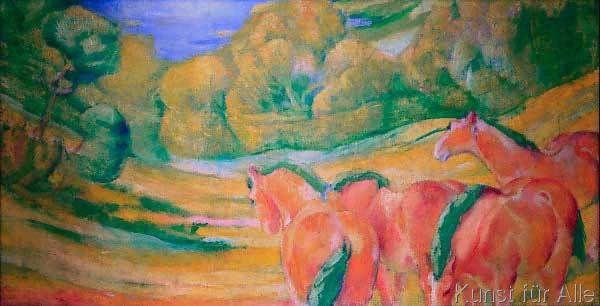 Franz Marc - Große Landschaft I (Landschaft mit roten Pferden)