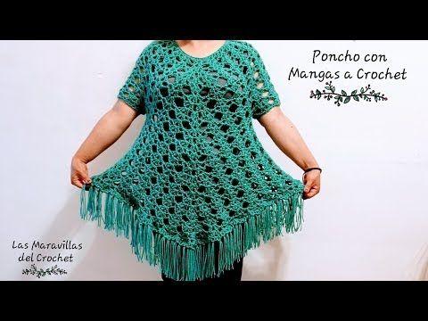 Aprende Práctica Y Teje Un Poncho A Crochet Con Mangas Materiales 300g De Lana Acrílica Del 4 Medi Poncho Con Mangas Poncho De Ganchillo Vestidos De Ganchillo