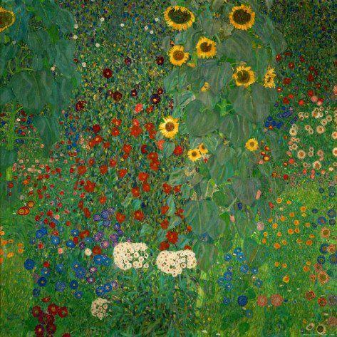 """Bom dia, flores do dia :)  """"E eu continuo regando meu jardim de lindezas. Porque melhor do que ser flor, é fazer florir. Cultivo sorrisos, para cativar corações."""" (Monalisa Macedo)  Arte: Jardim com girassóis - Gustav Klimt. 1912"""
