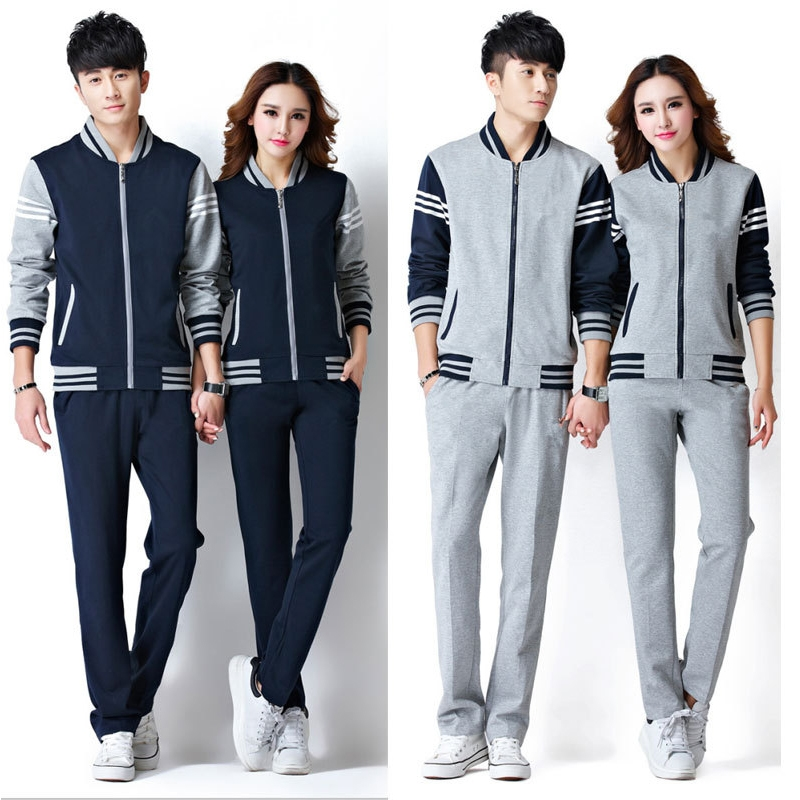 67.72$  Buy here - http://alixo0.worldwells.pw/go.php?t=32767246135 - Spring and Autumn long - sleeved sports running suit male cotton sportswear couple sweater solid color sportswear female jerseys