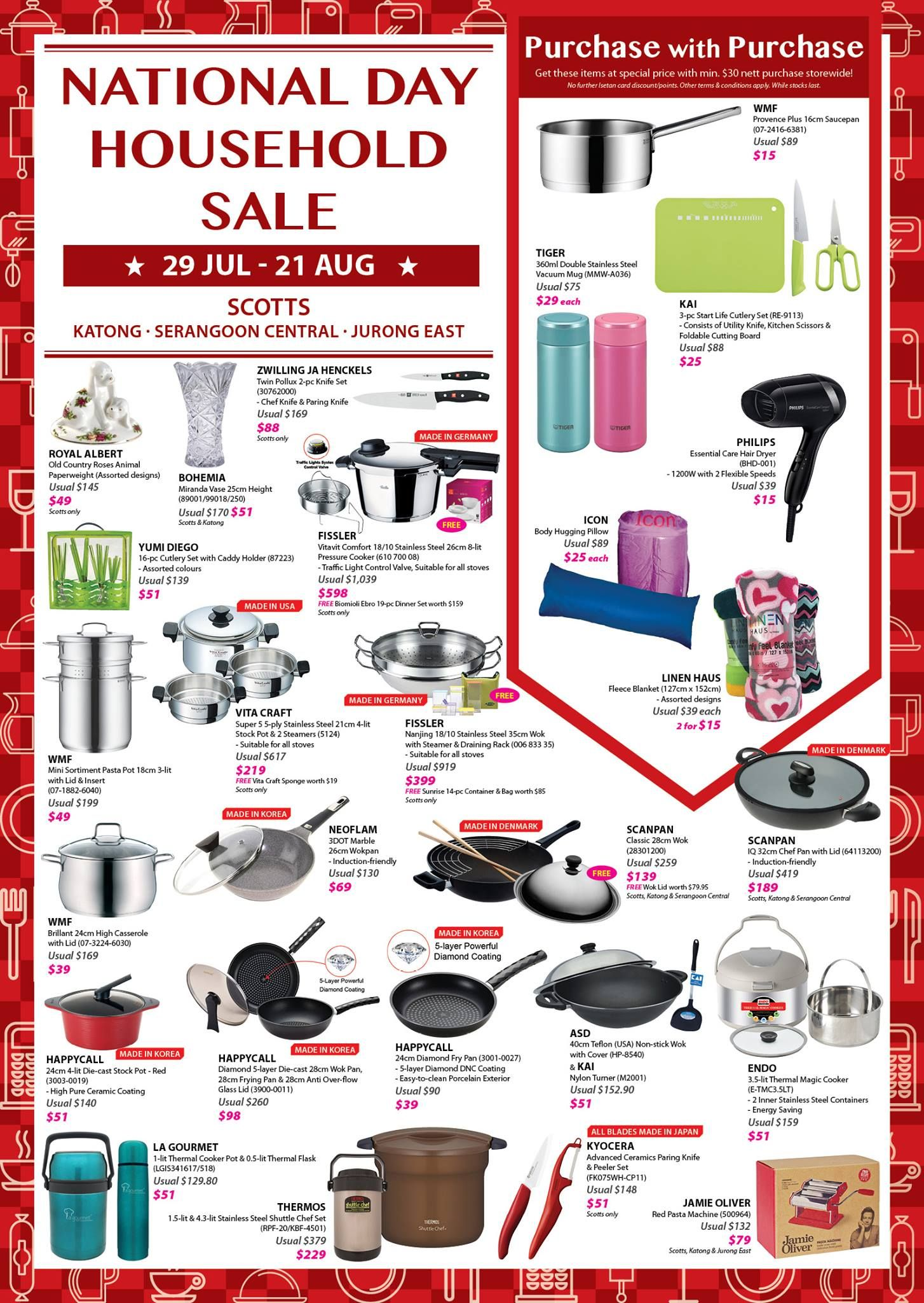Isetan National Day Household Sale Singapore Promotion 29 Jul To 21 Aug 2016 Why Not Deals National Day Isetan Sale