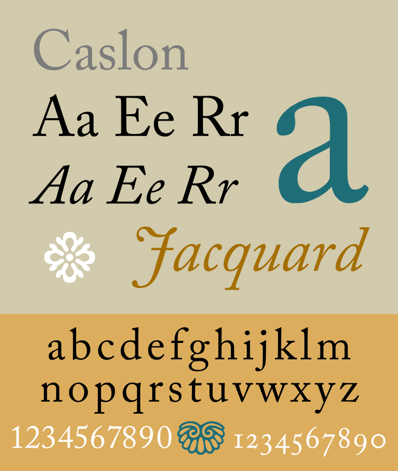 Caslon — a group of serif typefaces designed by William