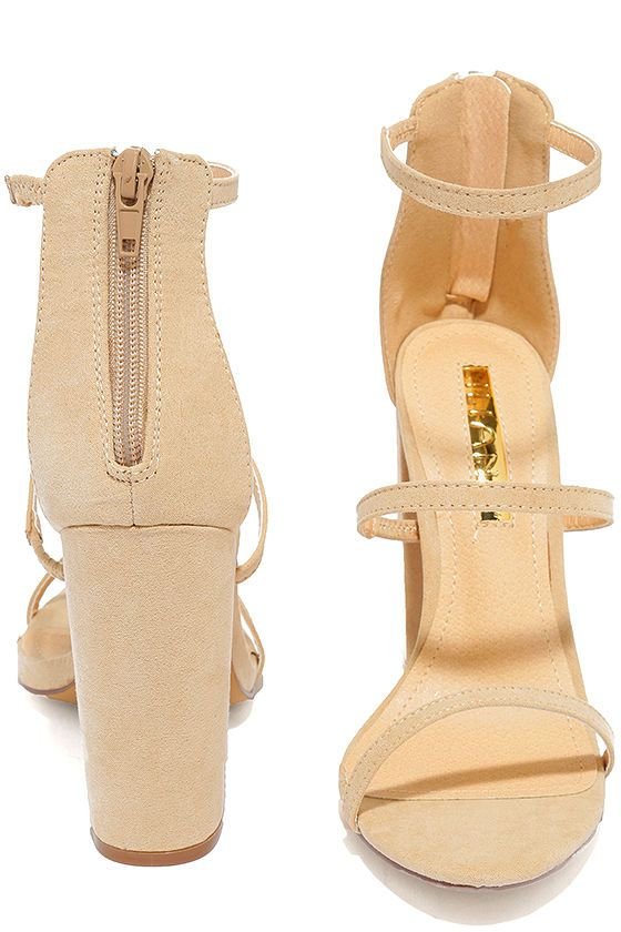 c38be701cb05 The Fifi Nude Suede Ankle Strap Heels will always RSVP to the hottest  parties of the season! Soft vegan suede is molded to slender straps that  create a ...