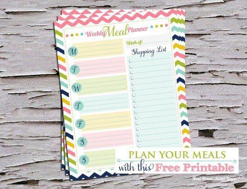 Free Printable Weekly Meal Planner Weekly meal planner, Weekly