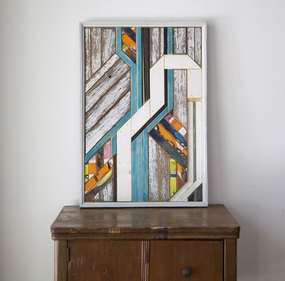 Reclaimed barn wood and painted wood collaboration ryan lawrence