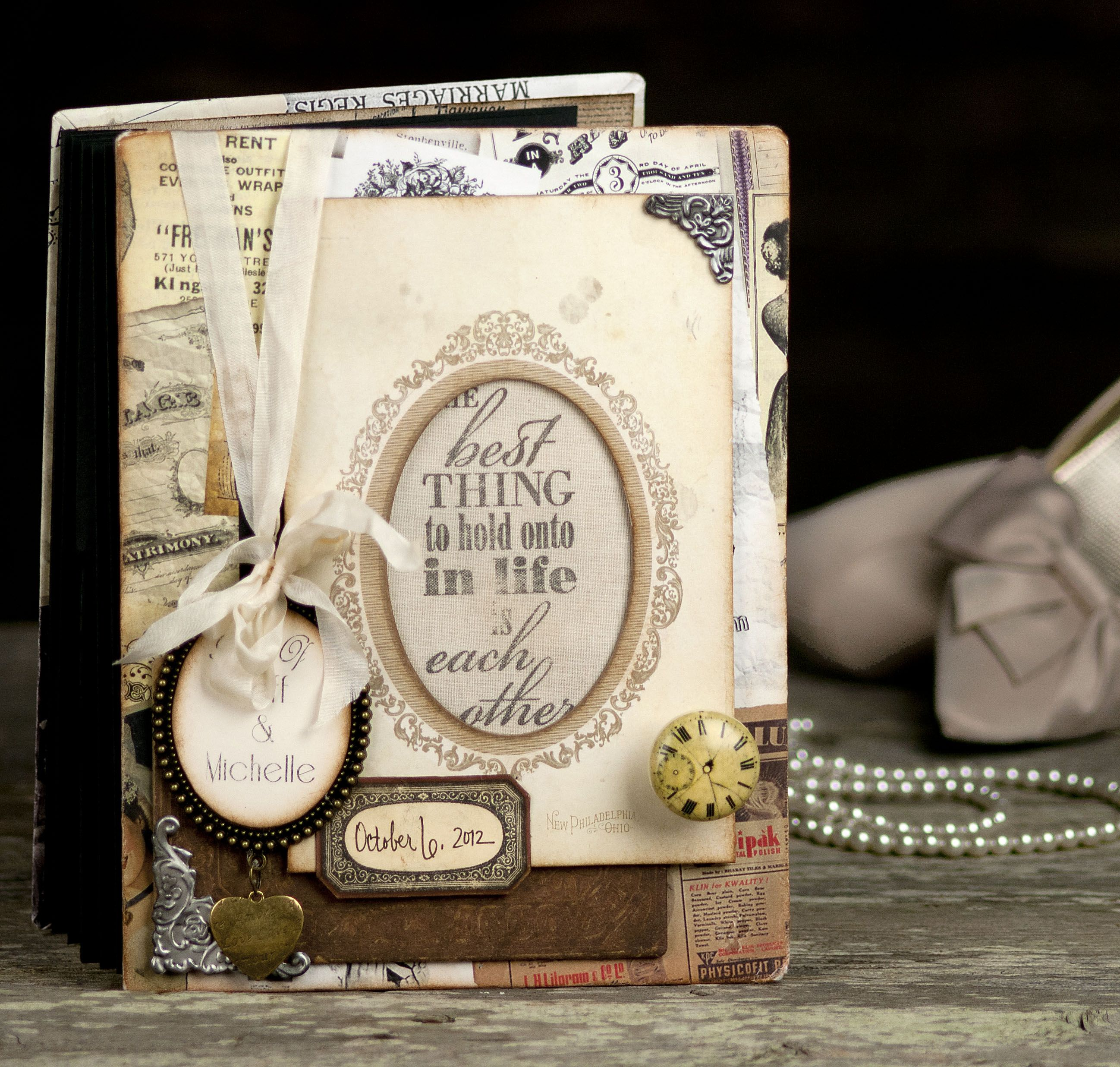 DIY Wedding Guest Book with gypsies Harmony papers Something Old