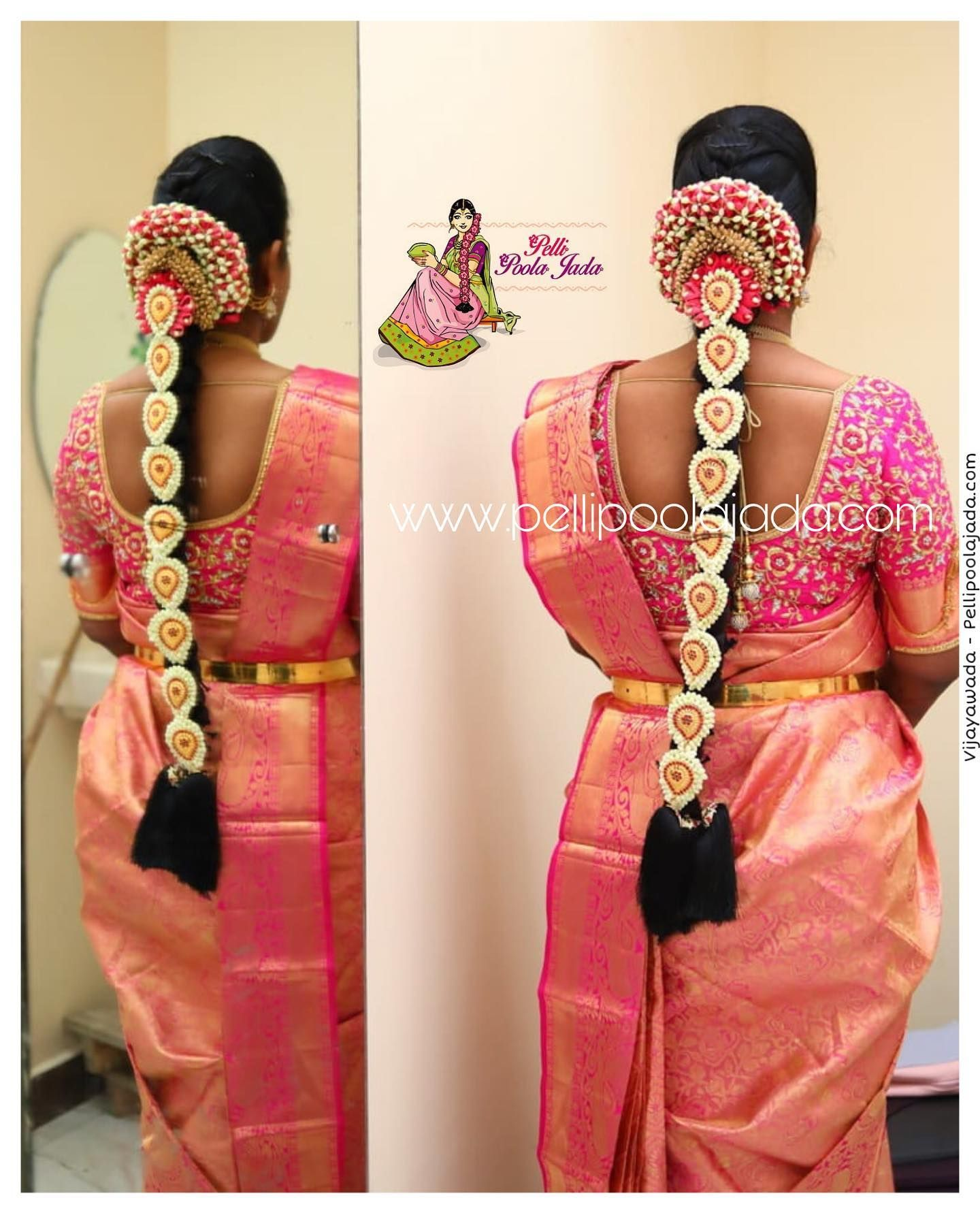 Picture Perfect Poolajada For A Wedding Bride Grab This Beautiful Flora Indian Bridal Hairstyles South Indian Bride Hairstyle South Indian Wedding Hairstyles