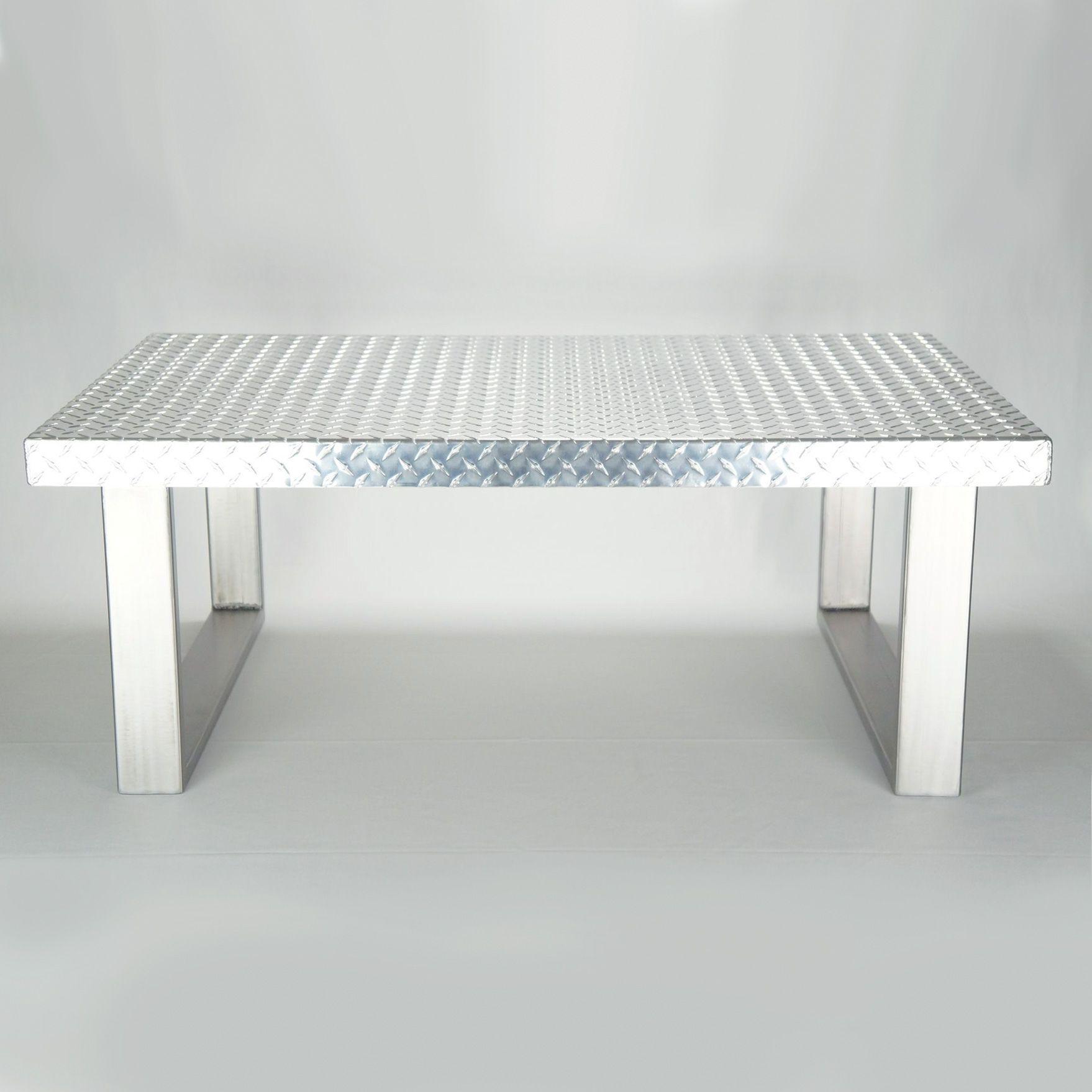 Custom Made Industrial Diamond Plate Metal Coffee Table