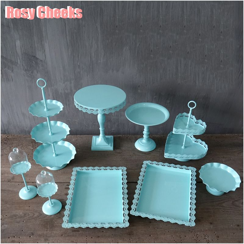 Tiffany blue cake stand set 9 pieces cupcake dish tray for wedding cake tools party event & Tiffany blue cake stand set 9 pieces cupcake dish tray for wedding ...