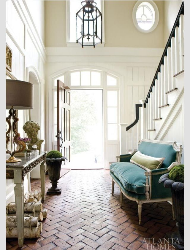 Brick floor in house Rustic/Modern Home Decor Pinterest Brick