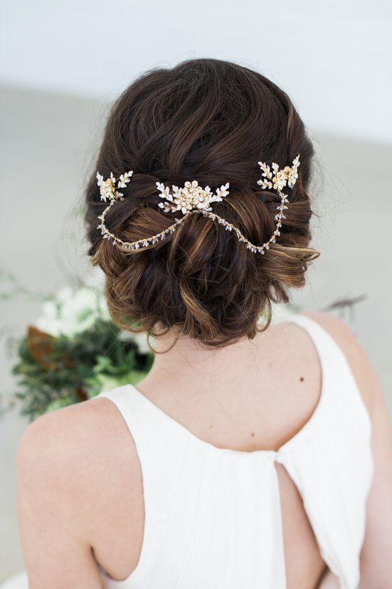 gold crystal hair chain bridal