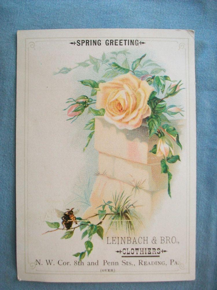 1890 Spring Greeting-Leinbach & Bro, Reading Pa-Clothiers-Victorian Trade Card #SpringGreeting
