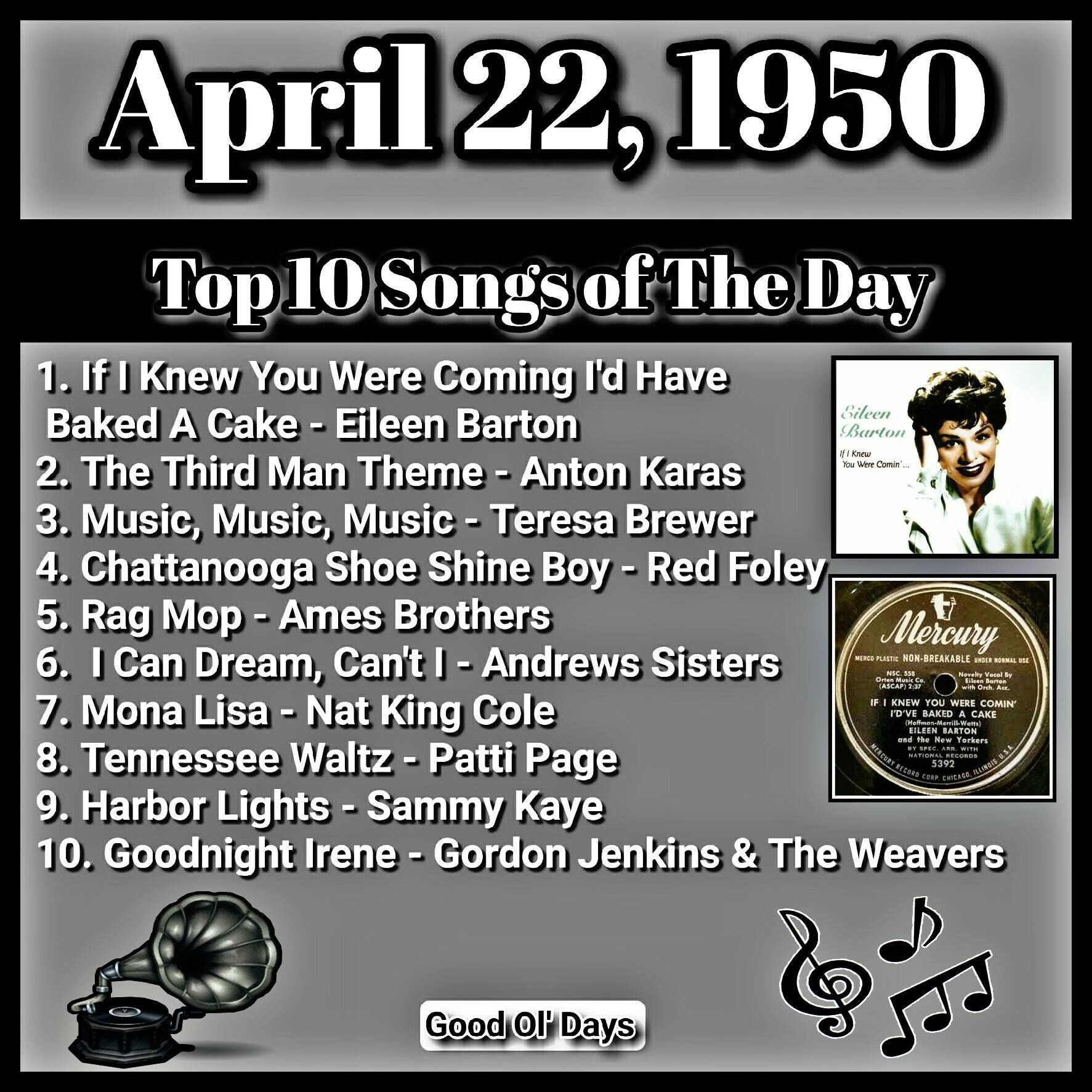 April 1950 | Oldies but Goodies | Music hits, 70s music, 60s
