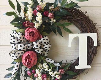 Photo of Monogram peony wreath / monogram grapevine wreath / everyday wreath / all year round wreath / spring wreath / summer wreath